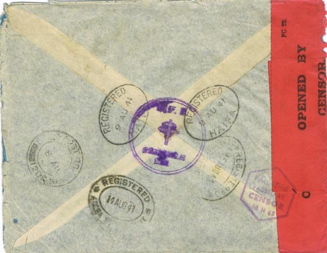 """Lettre recommandée par avion d'un  F.F.L. oblitération """" FIELDPOST OFFICE 61 »  du 7 août 1941 pour BRAZZAVILLE Ccf24013"""