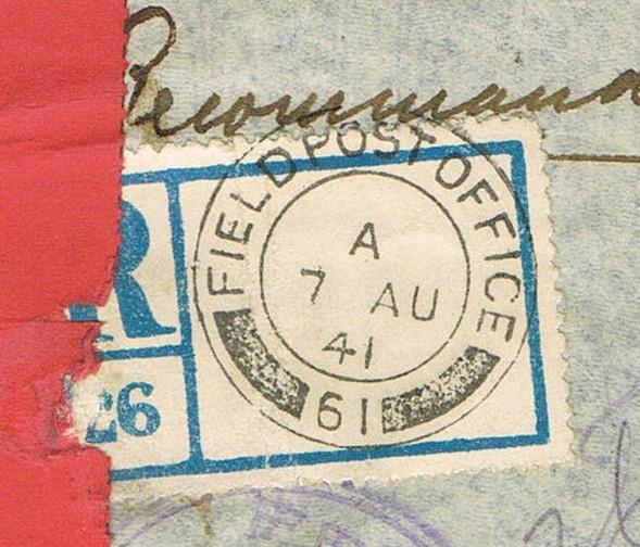 """Lettre recommandée par avion d'un  F.F.L. oblitération """" FIELDPOST OFFICE 61 »  du 7 août 1941 pour BRAZZAVILLE Ccf24015"""