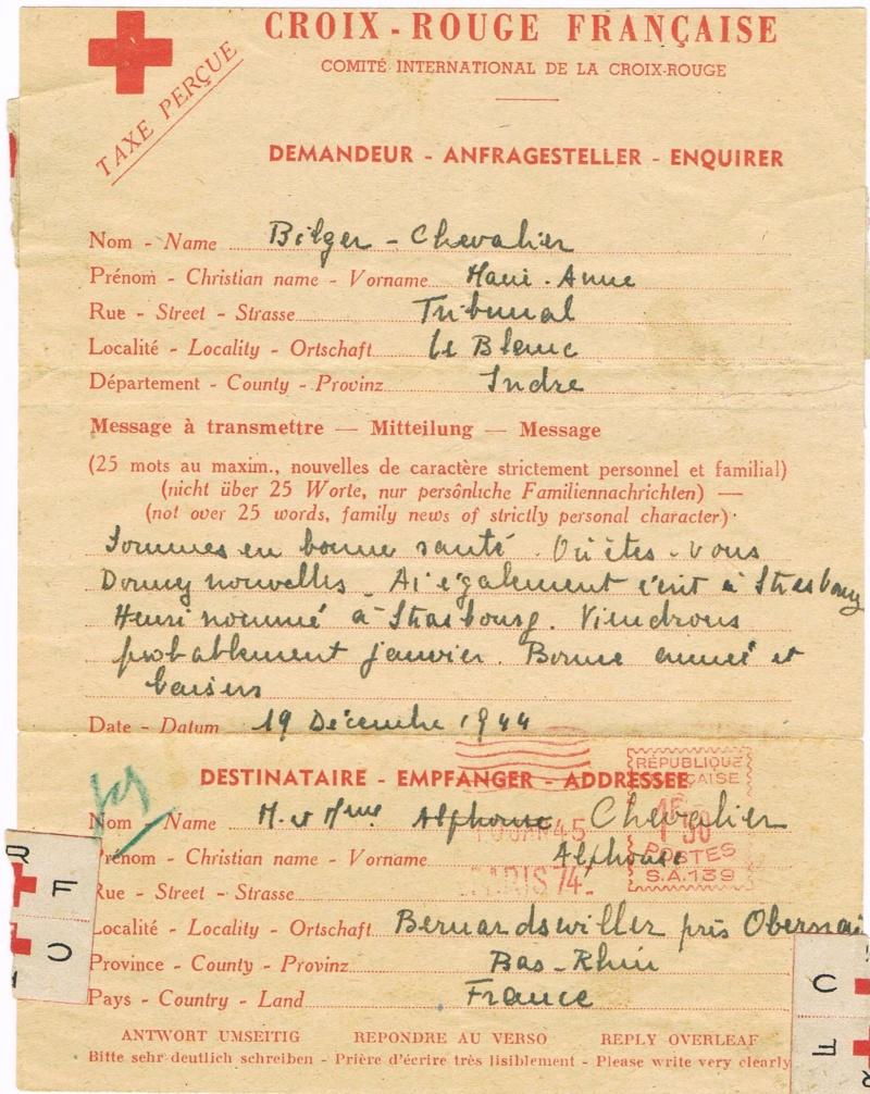 Message Croix-Rouge de France vers l'Alsace libérée  en 1945. Ccf25013