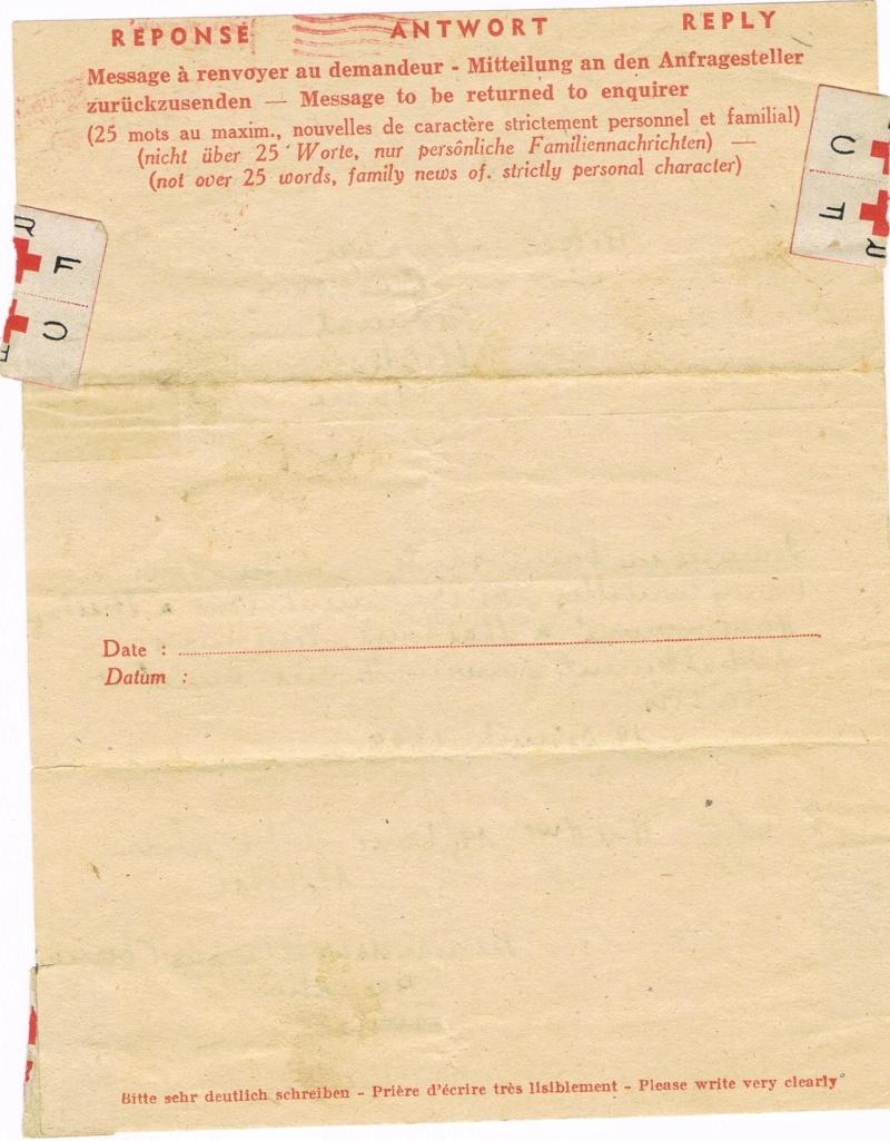 Message Croix-Rouge de France vers l'Alsace libérée  en 1945. Ccf25014