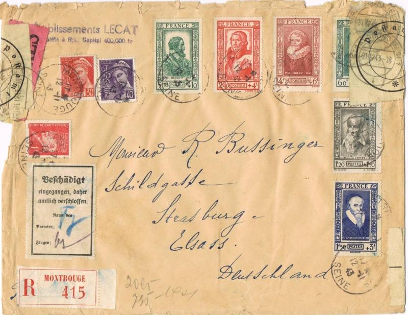 Tarif  lettre international pendant la Deuxième Guerre mondiale Ccf26011