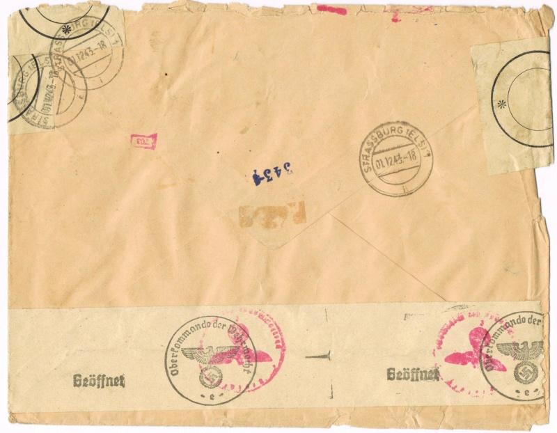 Tarif  lettre international pendant la Deuxième Guerre mondiale Ccf26012