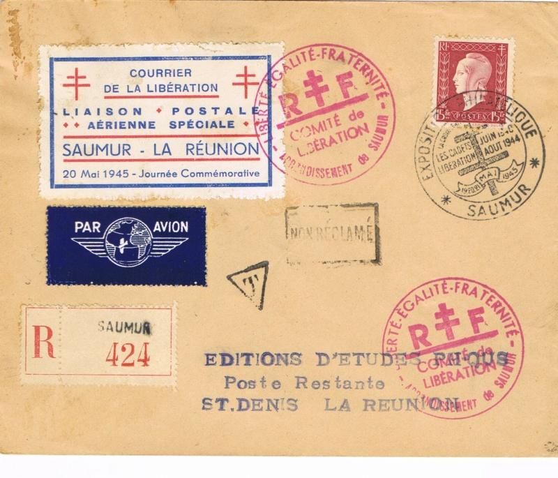 Tarif postal de France vers la Réunion en 1945 : Saumur Libération ?  Ccf26013
