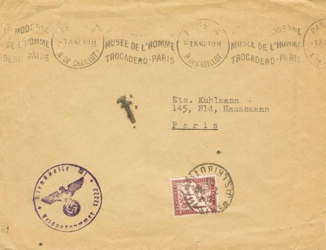 Lettre  de l'autorité d'occupation allemande s'accordant  la franchise à Paris en 1940  , taxée. Ccf28013