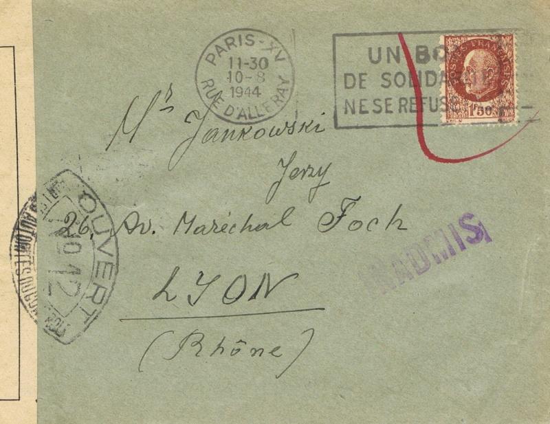 Lettre  du  10.8.44 PARIS  pour Lyon -  Griffe  INADMIS  –  Censure  N° 12   Lyon Ccf28017