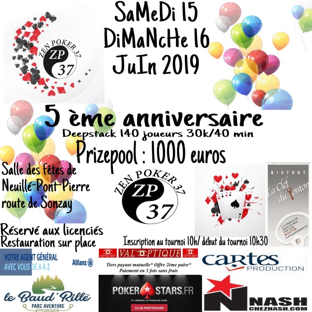 tournoi du ZEN POKER 37, les 15 et 16 juin 2019. Affich13