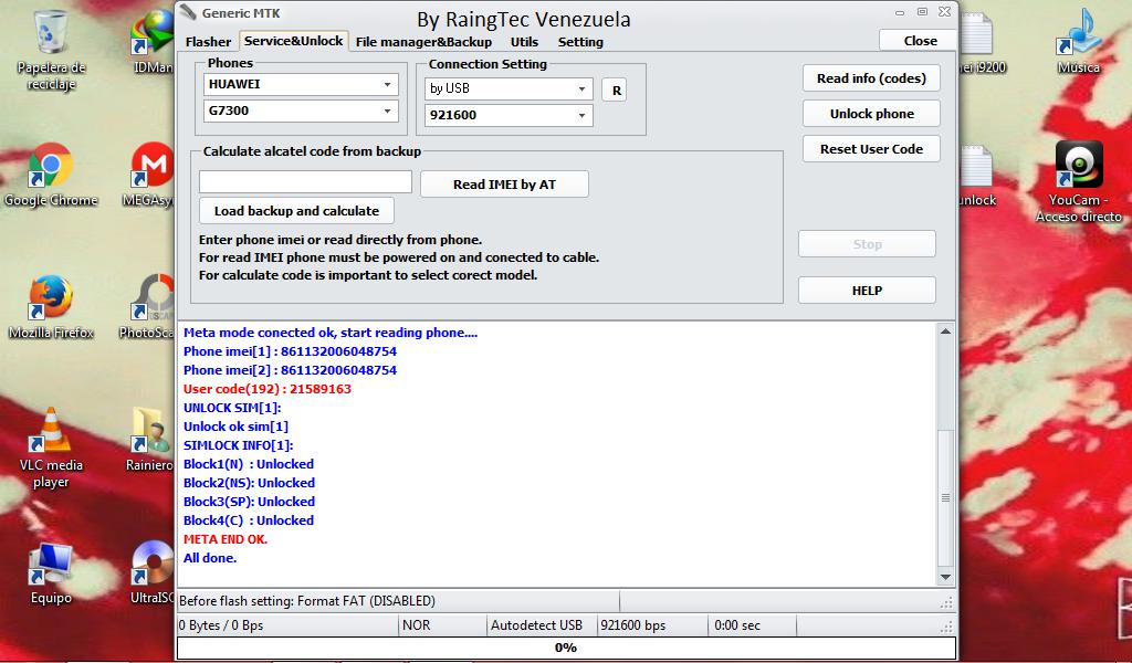 Direct Unlock Huawei g7300 Movilnet 6th89110