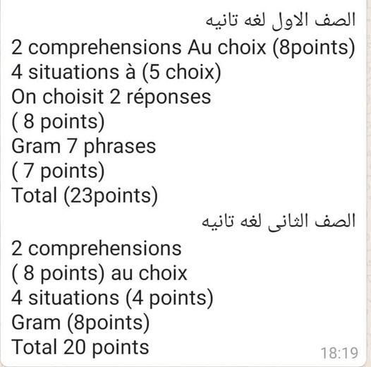 مواصفات امتحان اللغة الثانيه لـ ا و٢ ثانوي 011412