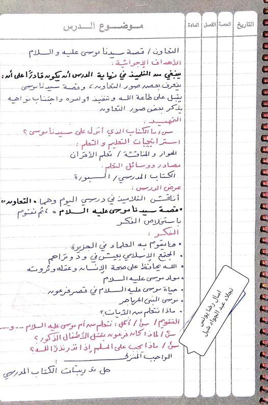 تحضير تربية دينية إسلامية الصف الرابع الفصل الدراسي الثاني 11122