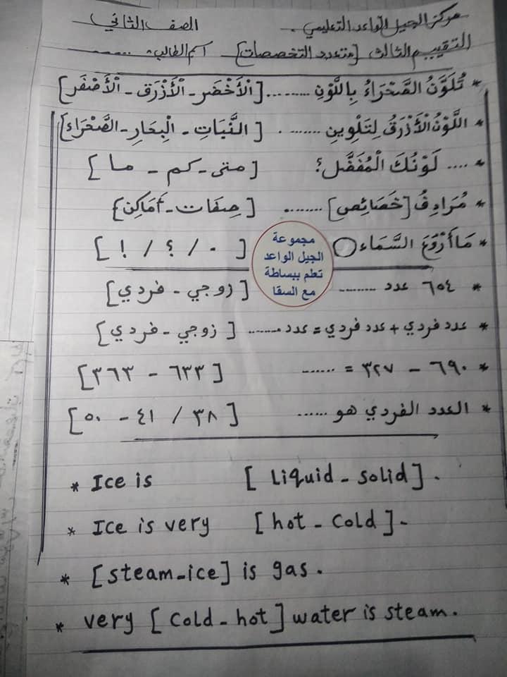 اختبار متعدد التخصصات للصف الثاني الابتدائي ترم ثاني 11125
