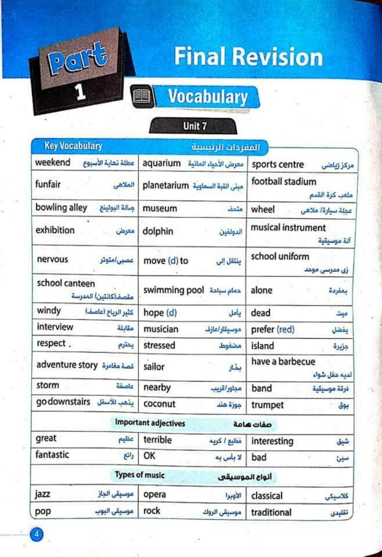 خلاصة لغة انجليزية | كلمات وتعبيرات وحروف جر وقواعد ومهارات وبراجراف الصف الأول الإعدادي الترم الثانى  1148