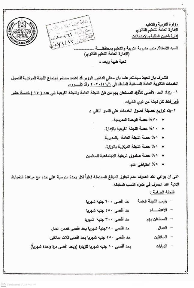 لائحة الصرف لمكافأة الاشراف والتدريس لفصول الخدمات الثانوي العام  بداية من عام ٢٠٢١/ ٢٠٢٢ 1204