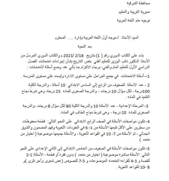 مواصفات امتحان اللغة العربية المجمع لصفوف النقل 1324