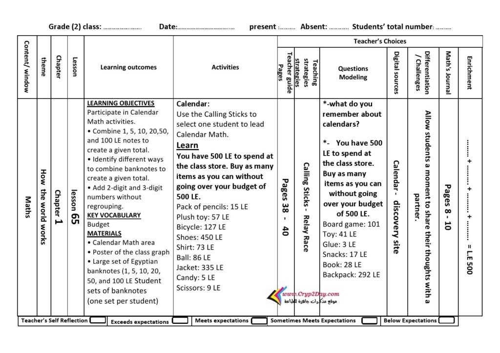 تحميل دفتر تحضير الكتروني Math للصف الثانى الابتدائى الترم الثاني pdf 1374