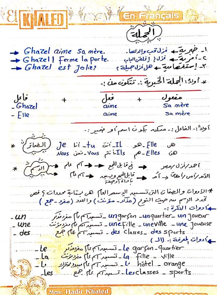 ملخص قواعد اللغة الفرنسية للثانوية العامة نظام جديد..أ/ هدير خالد 1419