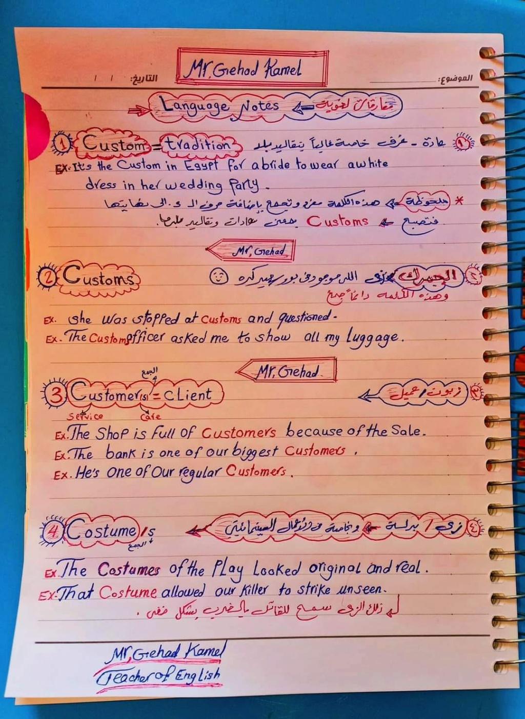كل الملاحظات اللغوية في اللغة الانجليزية للصف الثالث الثانوى مستر. عصام وهبة 1515
