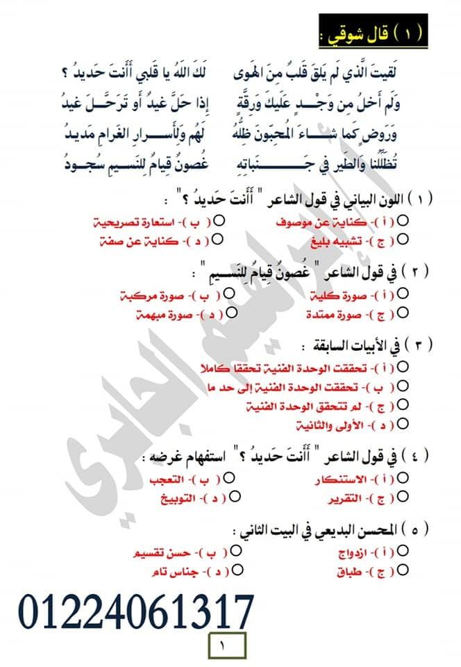 10 قطع بلاغة للثانوية العامة على النظام الجديد للإستاذ إبراهيم الجابرى 1518