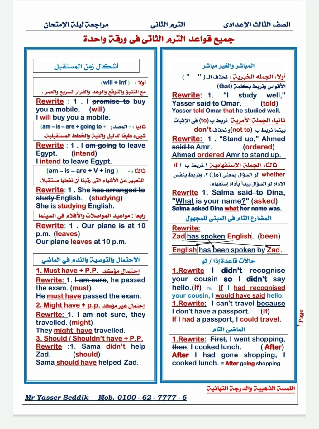 مراجعة ليلة الإمتحان.. جميع قواعد اللغة الانجليزية للصف الثالث الاعدادى الترم الثانى فى ورقة واحدة 1532