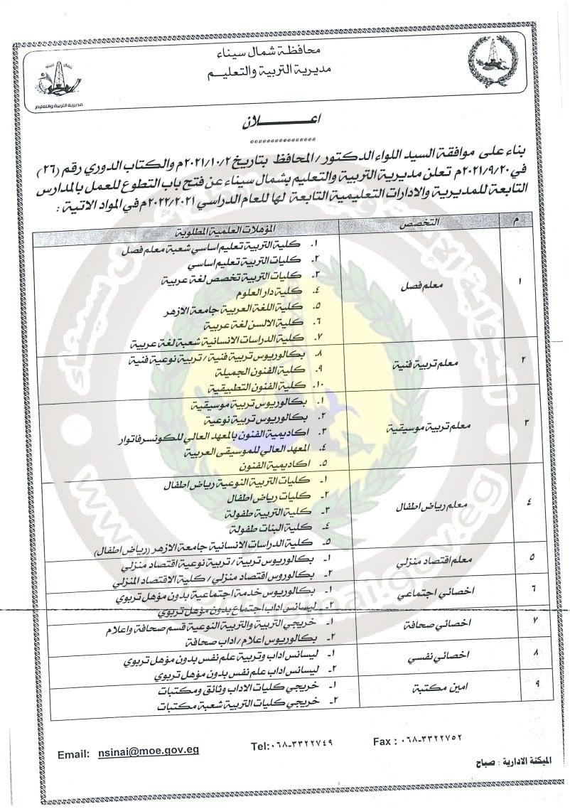تعليم شمال سيناء يعلن فتح باب التطوع للعمل بالمدارس 2022 الشروط والتخصصات المطلوبة 1569