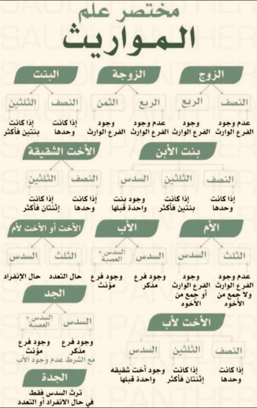 مختصر علم المواريث.. جدول المواريث في 3 ورقات 2199