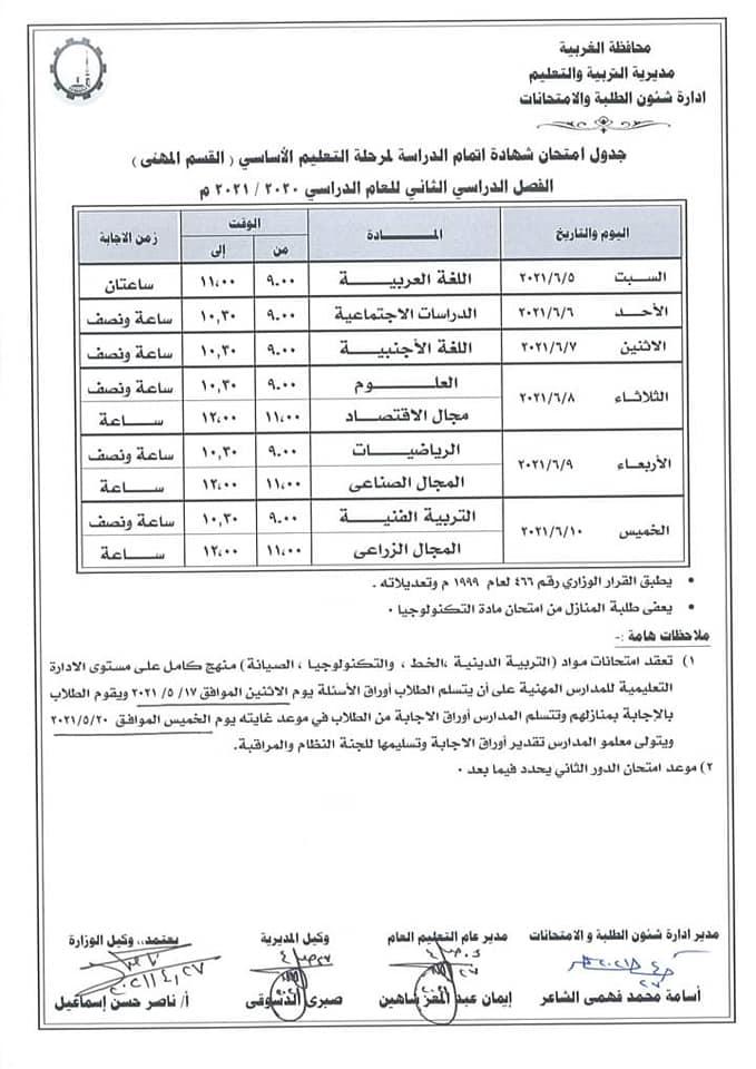 """جدول امتحانات الشهادة الاعدادية الترم الثاني 2021 """"جميع المحافظات"""" - صفحة 2 3411"""