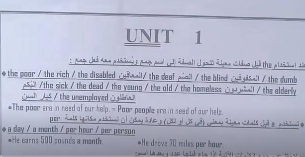 مراجعه لغه انجليزيه للصف الثالث الثانوي   ملاحظات لغويه final revision على الوحدات(١،٢،٣)  425