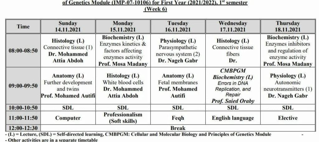 جدول كلية طب الأزهر بنين بالقاهرة للعام الدراسي 2021 - 2022 441110