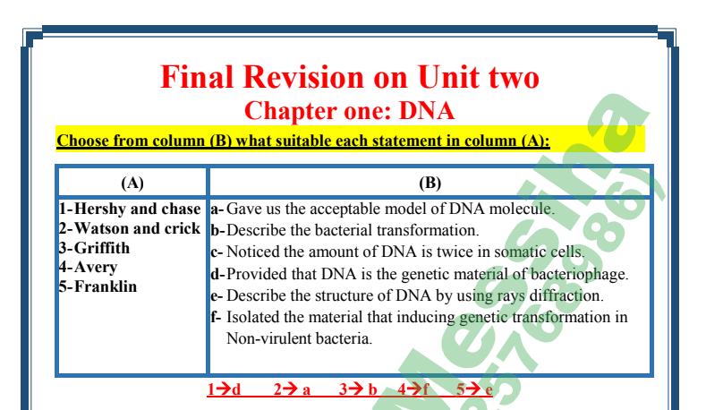 مراجعة الـ DNA أحياء ثالثة ثانوي 2022 أ/ مينا حنا 447