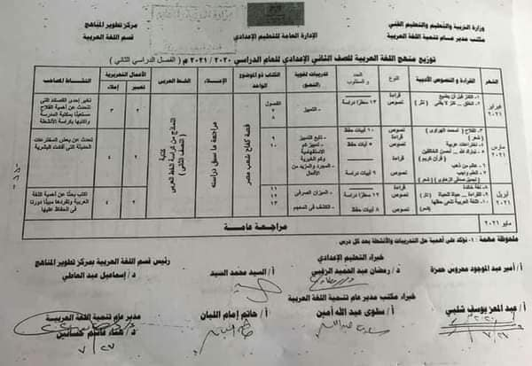 منهج اللغة العربية الفصل الدراسي الثاني 2021 للمرحلة الإعدادية 8810
