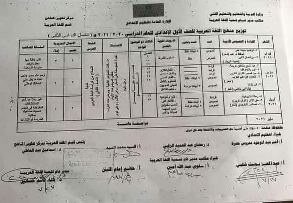منهج اللغة العربية الفصل الدراسي الثاني 2021 للمرحلة الإعدادية 9010