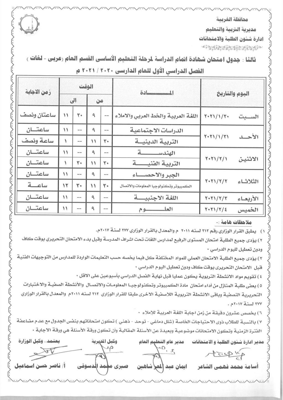 جدول امتحانات الشهادة الاعدادية الترم الاول 2021 جميع المحافظات 910