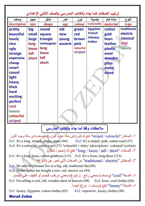 ترتيب صفات اللغة الانجليزية للصف الثاني الاعدادي Safe_i68