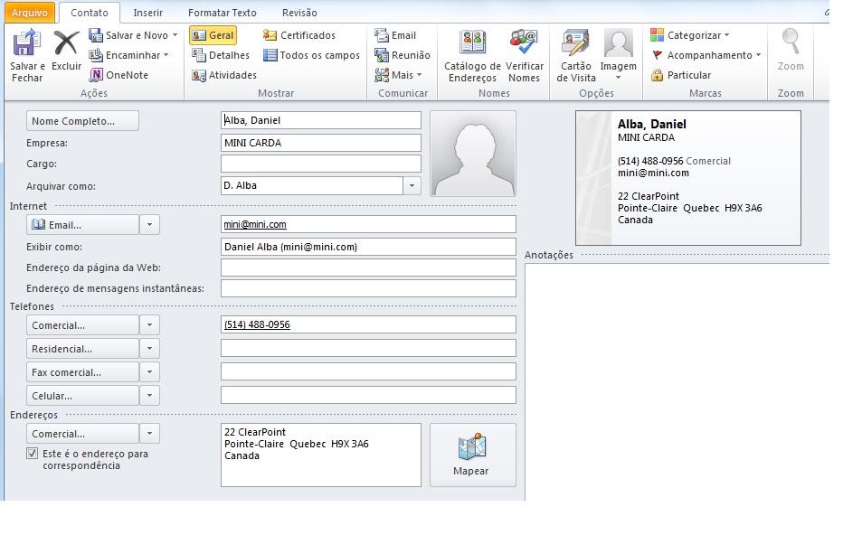 [Resolvido]Adicionar contato Outlook Outloo10