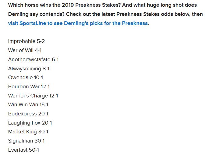 Preakness Stakes 18 de Mayo ( lista preliminar ) P10