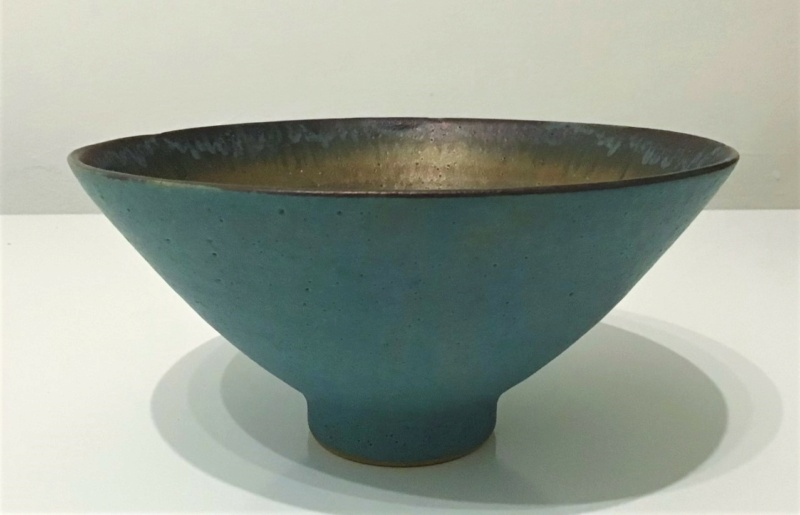 Lovely Green and Gold Footed Bowl  -   Sarah Perry's Lustre Ware 1010