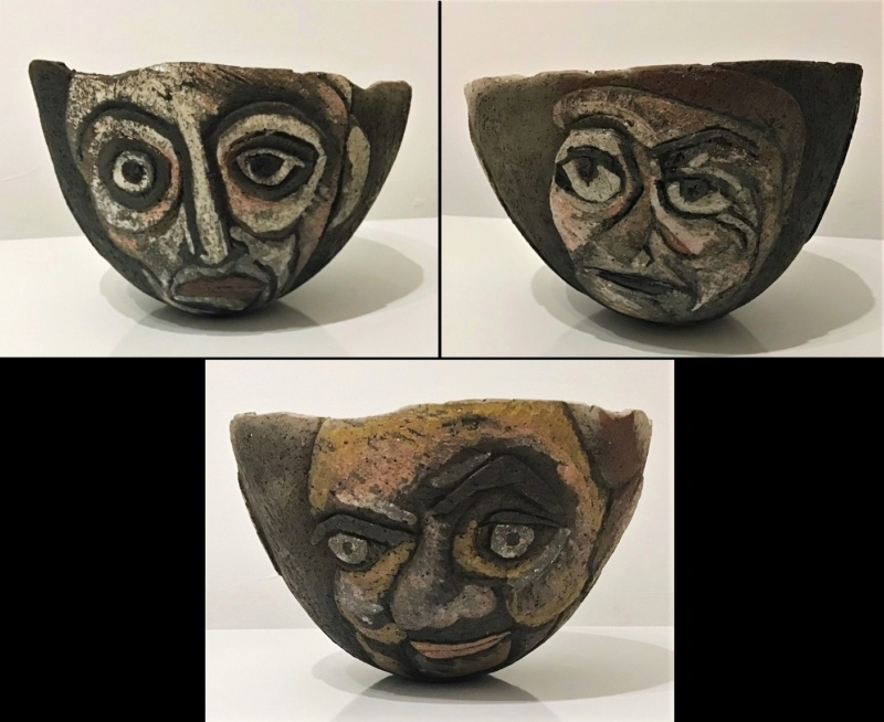 Bizzare Hand Coiled 3 Faces Bowl (Unmarked) 3_face11
