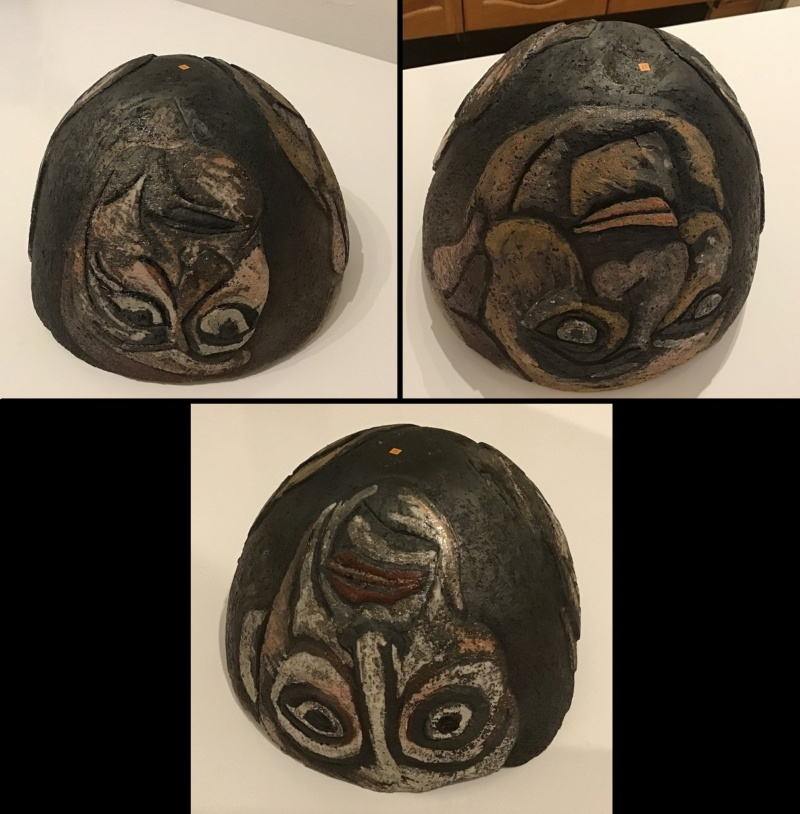 Bizzare Hand Coiled 3 Faces Bowl (Unmarked) 3_face12