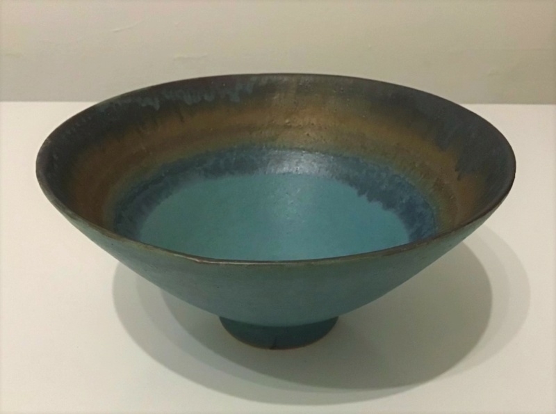 Lovely Green and Gold Footed Bowl  -   Sarah Perry's Lustre Ware 610