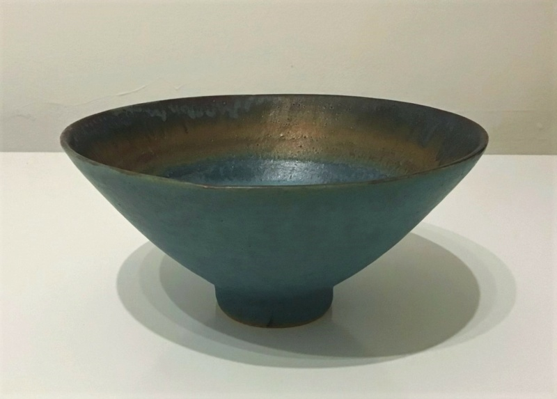 Lovely Green and Gold Footed Bowl  -   Sarah Perry's Lustre Ware 910