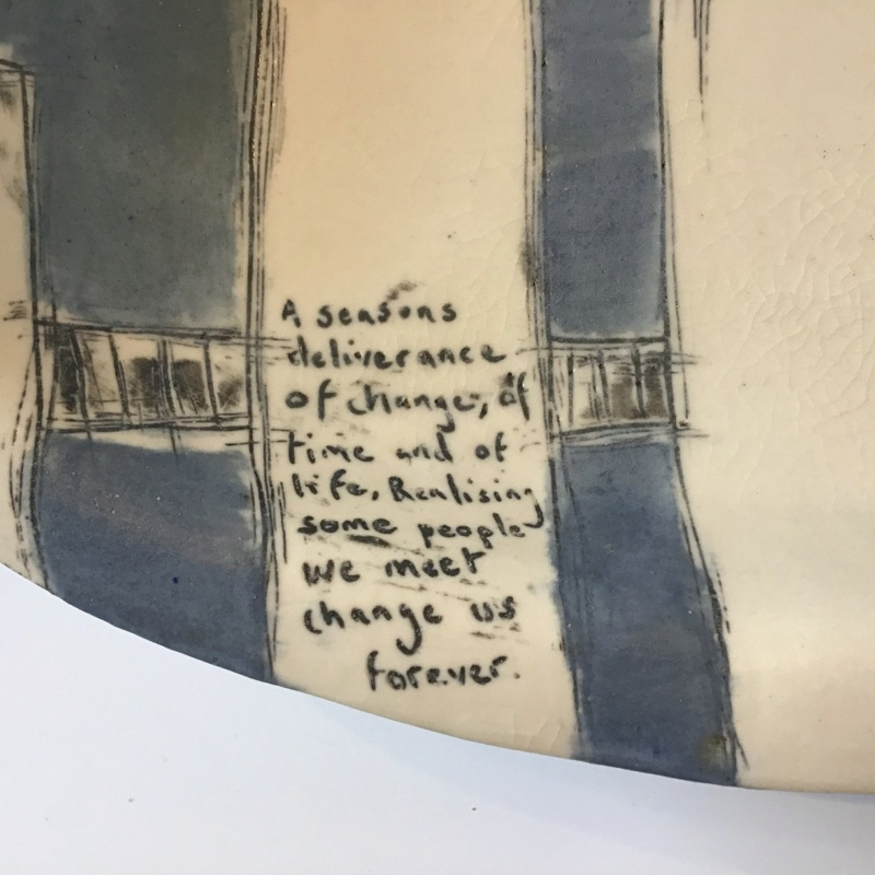 Unmarked Contemporary Dish on Legs with text. Unk610