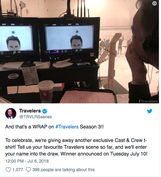 """""""Travelers"""" Wraps Up Filming for Season 3 Screen13"""
