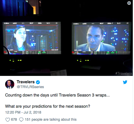 """""""Travelers"""" Wraps Up Filming for Season 3 Screen14"""