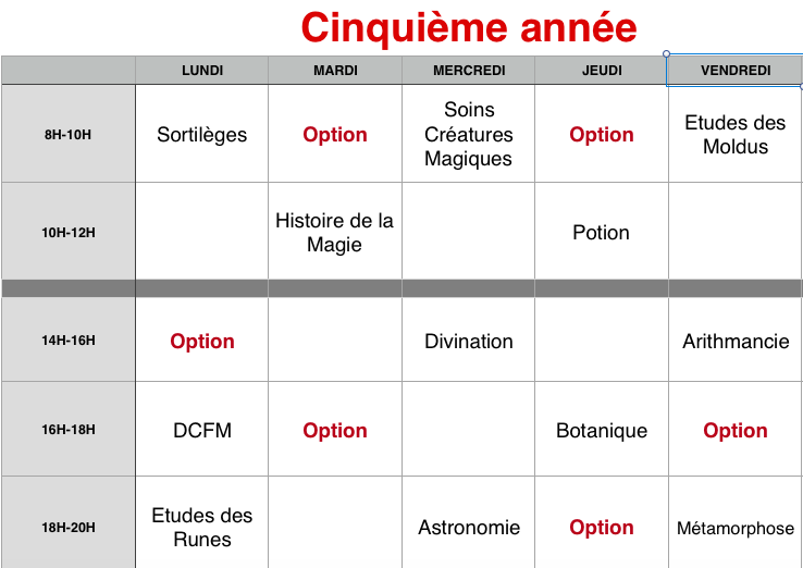Planning des cours 5eame_10