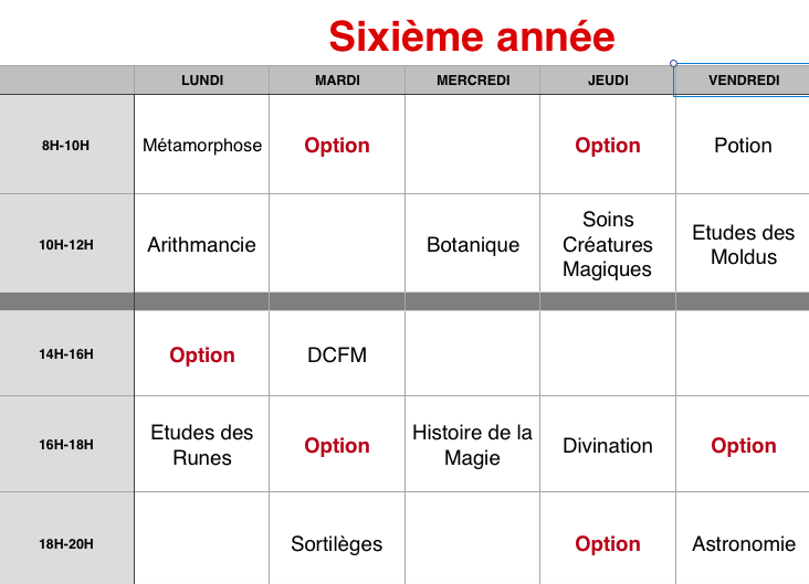 Planning des cours 6eame_10