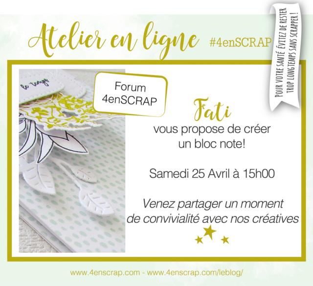 """Atelier en ligne """"Bloc note"""" par Fati - Samedi 25 avril à 15h00 Atelie10"""