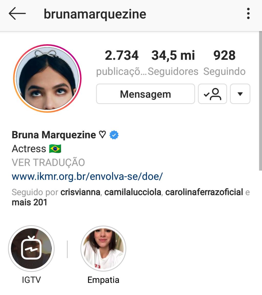 Bruna Marquezine reativa conta no Instagram Screen76