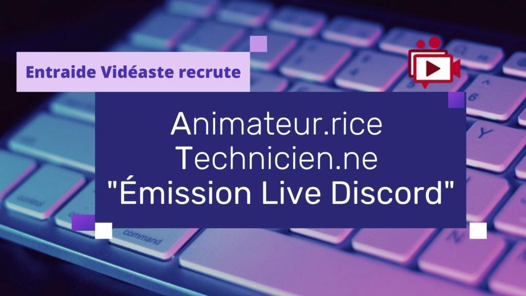 Le Forum recrute animateur.rice et techncien.nes - Live E.V. s/ Discord Purple10