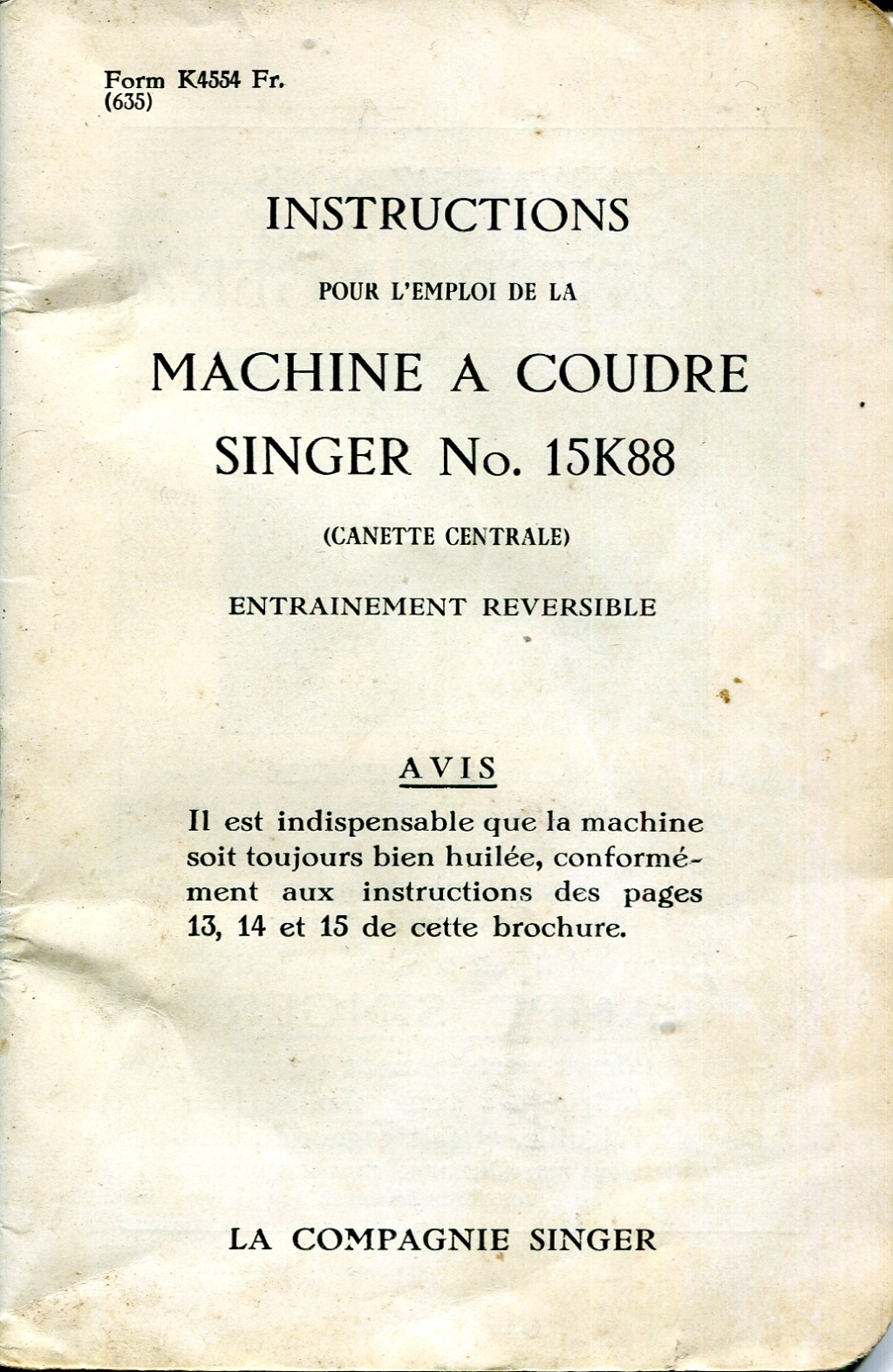 Notice Singer 15K88 15k88010
