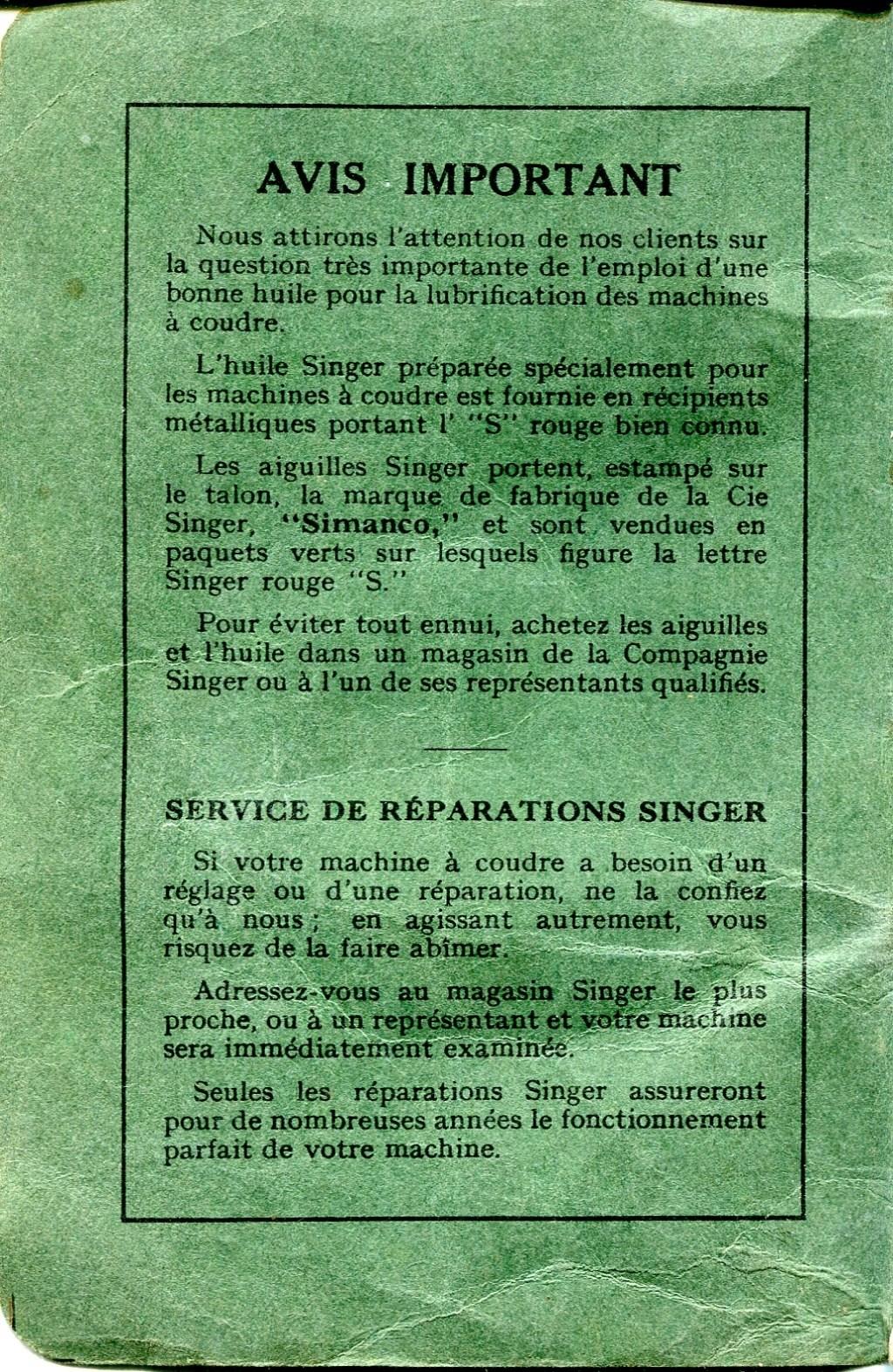 Notice Singer 15K88 15k88012