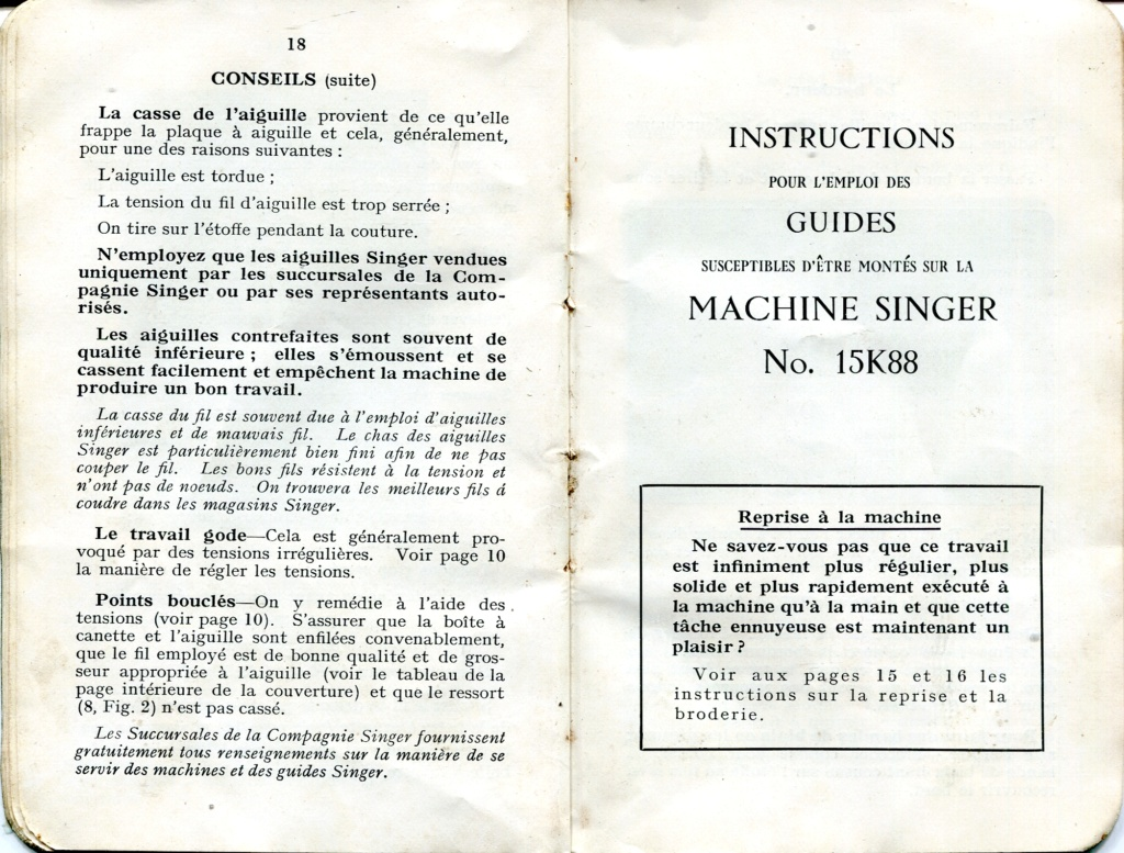 Notice Singer 15K88 15k88019